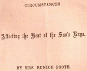 Eunice Foote and the dawn of climate science