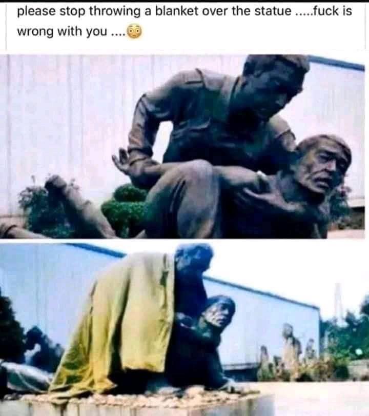 Stop Throwing Blanket over Statue Meme