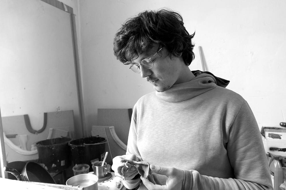 Paul Schuseil in his studio