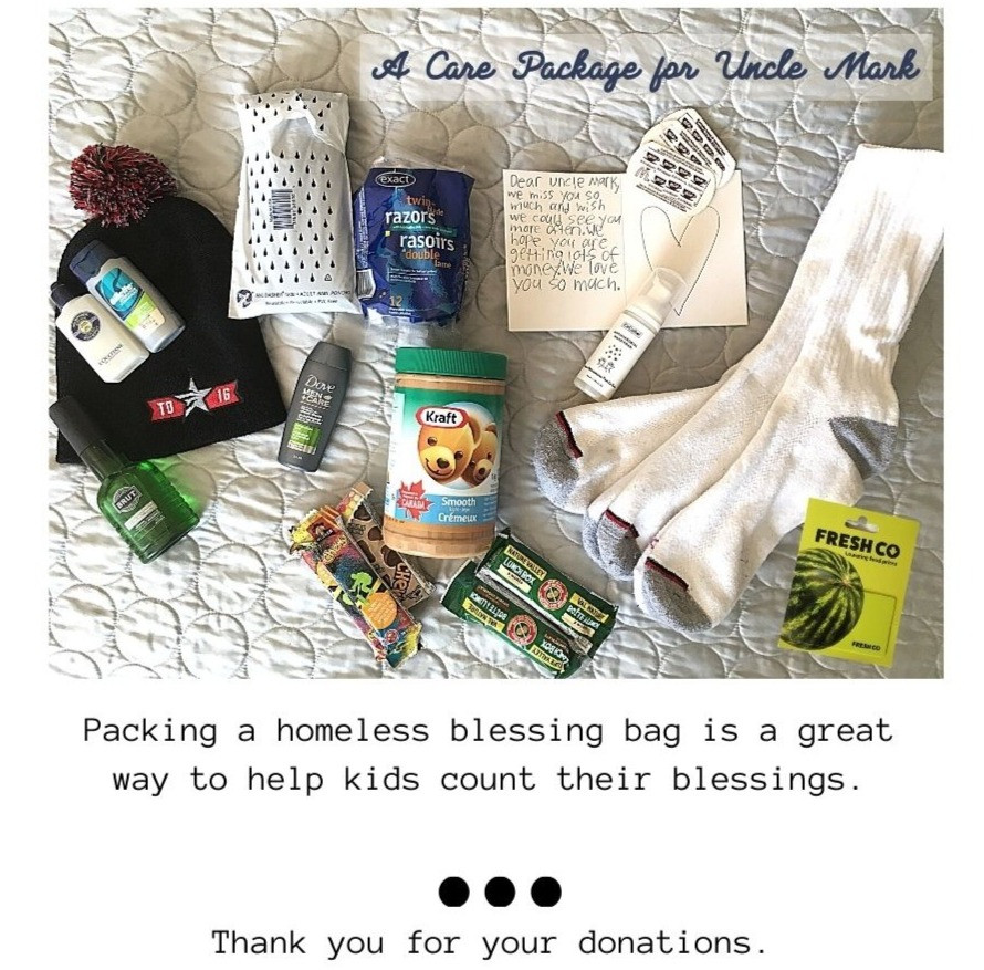 Contents of homeless care package include cocodot hand foam poncho hat socks peanut butter granola bars razors toiletries grocery gift card