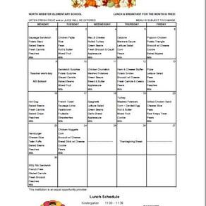 NWES November Lunch Menu and Parent Newsletter