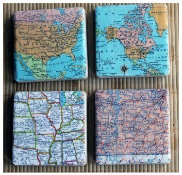 personalized map coasters gift for traveler