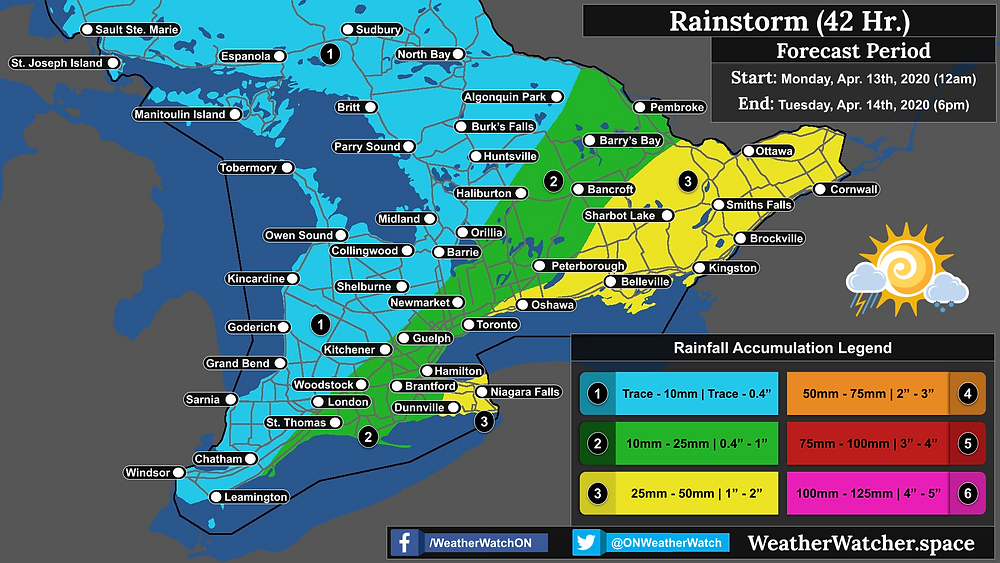 Rainfall Forecast, for Southern Ontario. Issued April 13th, 2020.