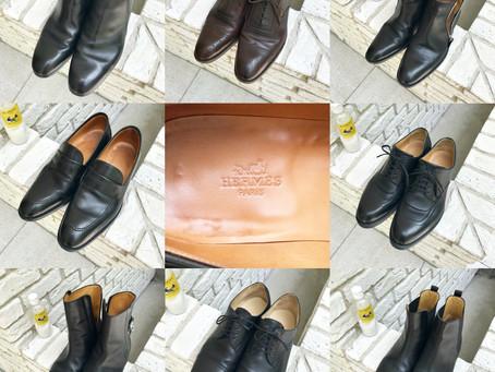 エルメスの革靴やブーツ~麻布邸宅、100足靴磨き
