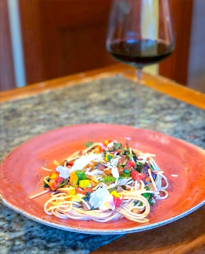 This Vegetable Spaghetti Recipe is healthy and delicious for the whole family. This super easy spaghetti recipe will please all and is vegetarian as well as vegan. It is an Italian dish with lots of vegetables and healthy herbs. With basil, chard, and tomatoes, this vegetable spaghetti recipe will please all who dine. Become a home cook favorite by making this recipe.