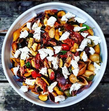 Summer courgette, tomato and mozzarella pasta