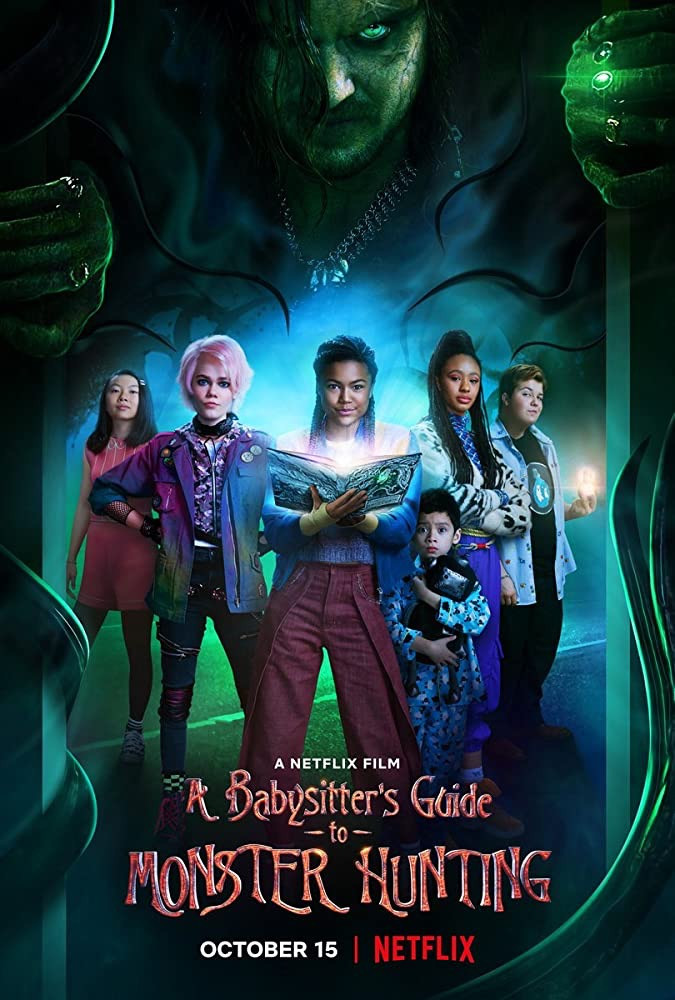 5 figures stand in the centre of this poster; the individual in the middle holding a book which shines from its pages. Towering over them in a green light is a more menacing individual - void eyes, long hair, rugged clothing.