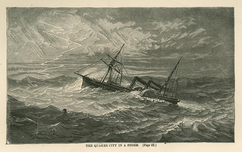 SS Quaker City in a storm