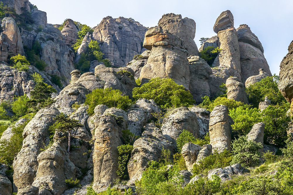 Mountain landscape with stones of the Valley of Ghosts on Demerdji, Crimea, Russia.