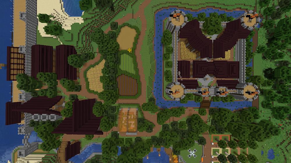 Birds eye view of a Minecraft server spawn.