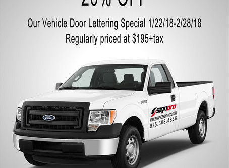 20% OFF our Vehicle Door Lettering Special!