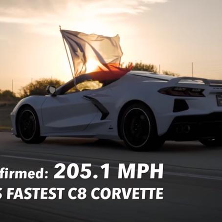 C8 CORVETTE BREAKS 200 MPH MARK