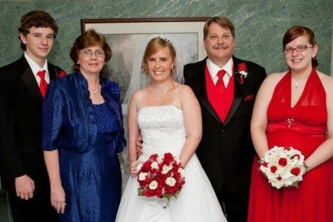 My family and I (far right) at my sister's wedding, 2012.