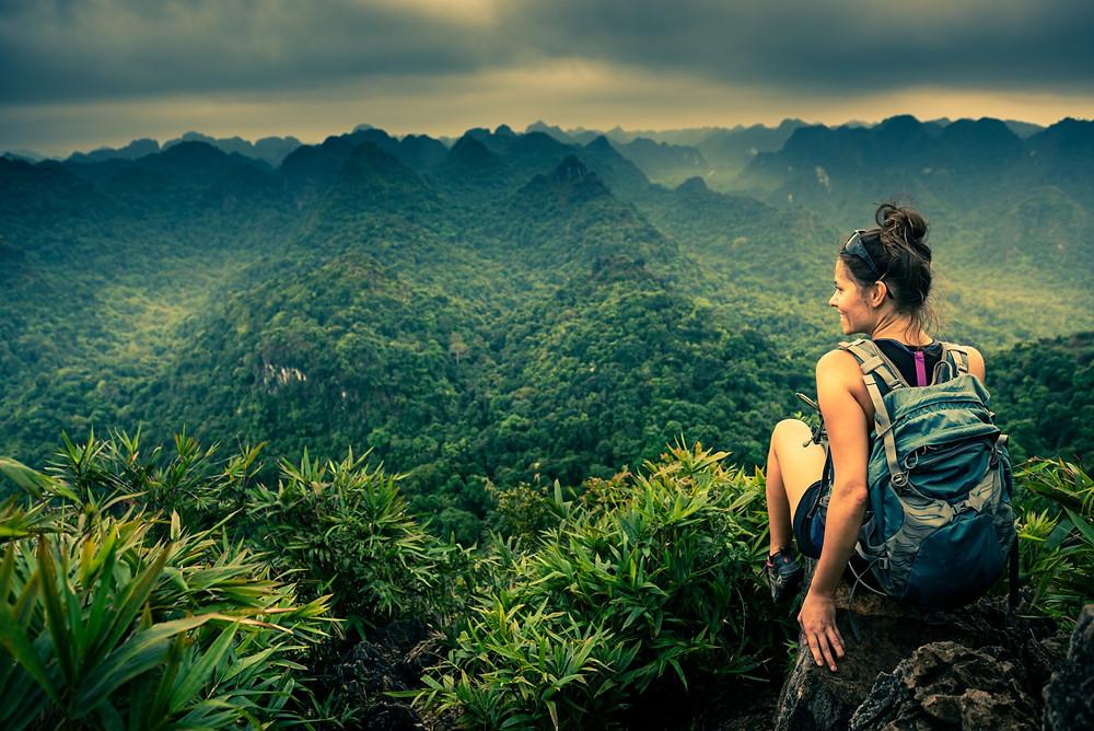 Woman-hiking-jungle-view