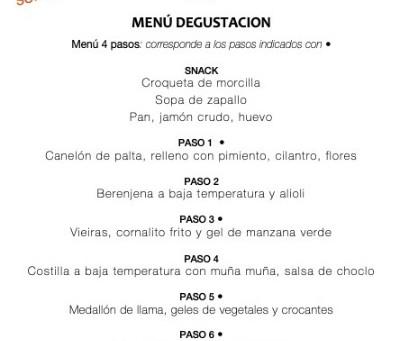 Menú degustación Semana 17/Julio