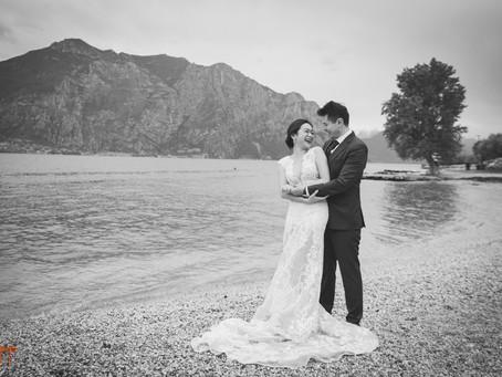 Servizio fotografico matrimonio Malcesine, Lago di Garda. Amore in bianco e nero.
