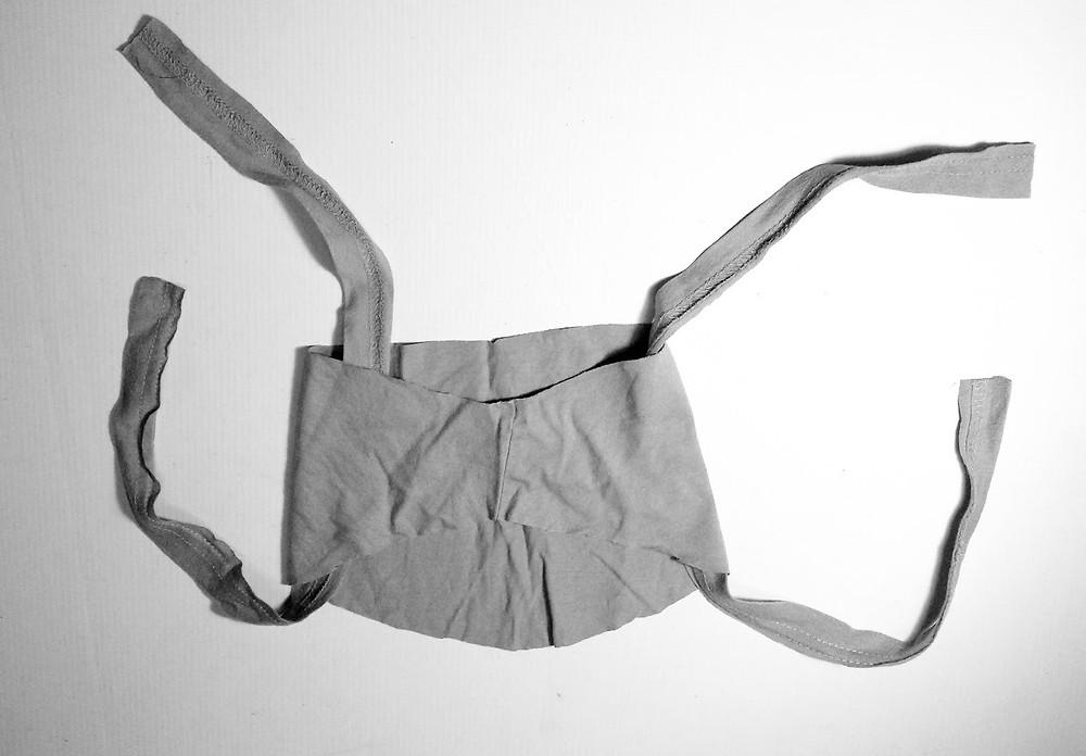 Thread t shirt cord into mask