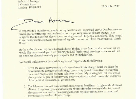 Climate change enquiries from Simon Hoare to gov't ministers (follow-up from 9-10-19 meeting).