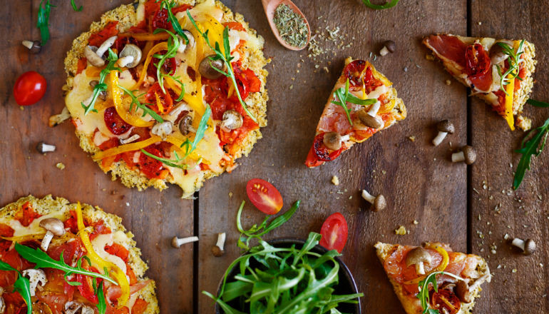 Picture of Sweet Potato Pizza with a variety of toppings