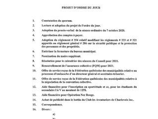 Ordre du jour de la séance à huis clos du 4 novembre 2020 (Covid-19)