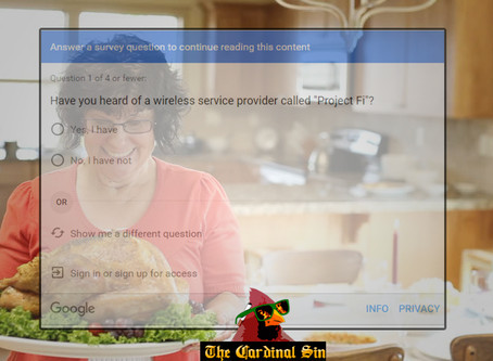 Guests Can't Attend Dinner At Goold's Without First Answering Survey Questions - The Cardinal Sin