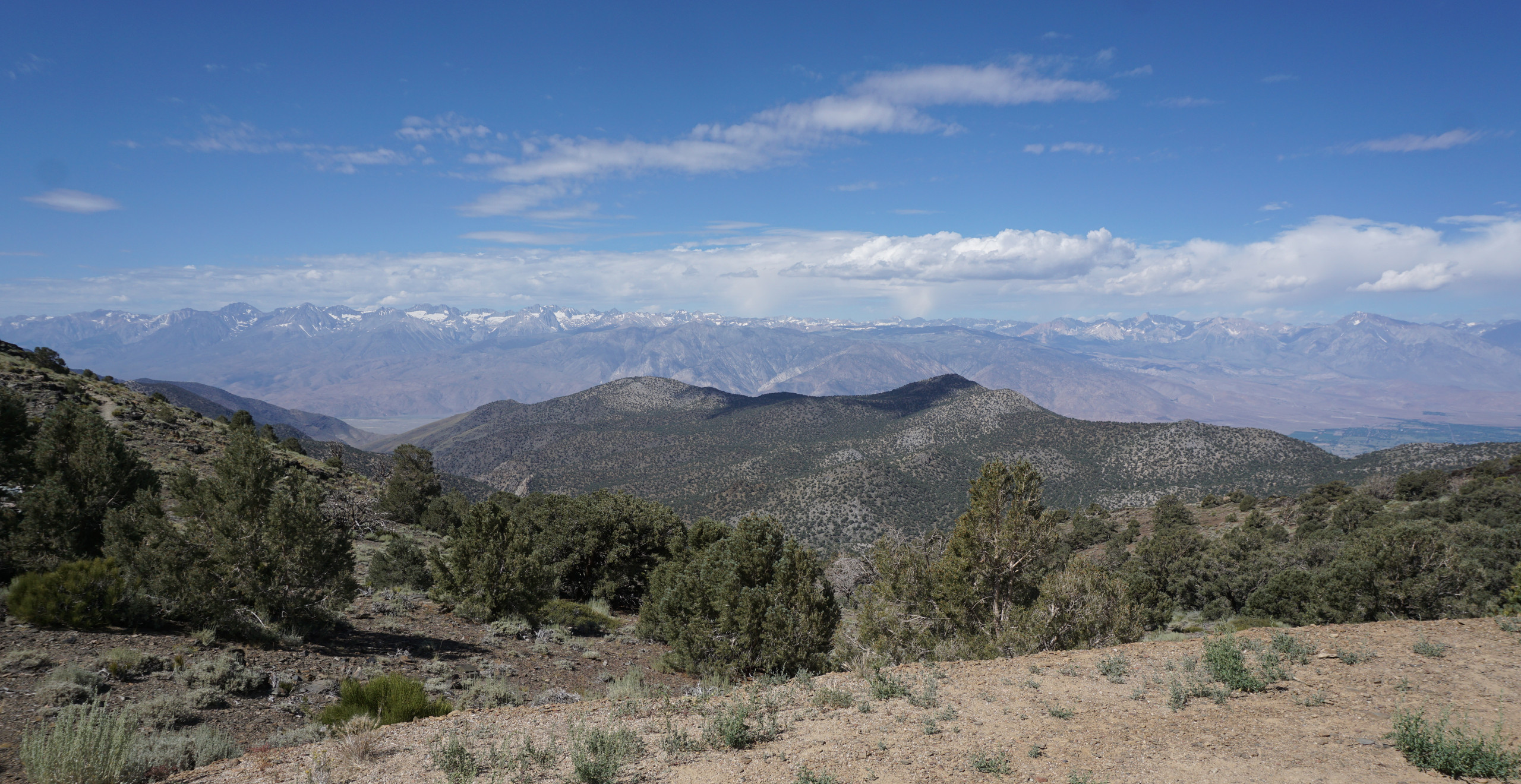 Looking west to the Sierra Nevadas from the White Mountains, CA