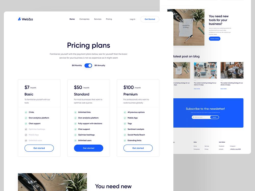 Marketing Website - Pricing plan page
