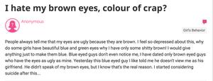 I hate my brown eyes