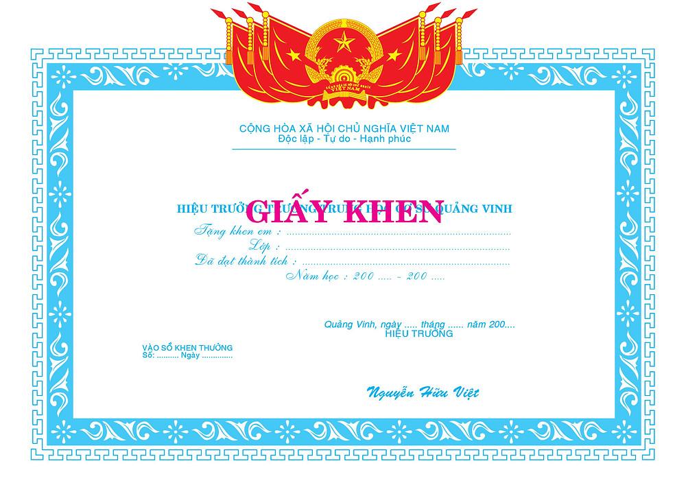 Mẫu Giấy khen bằng khen giấy chứng nhận vector
