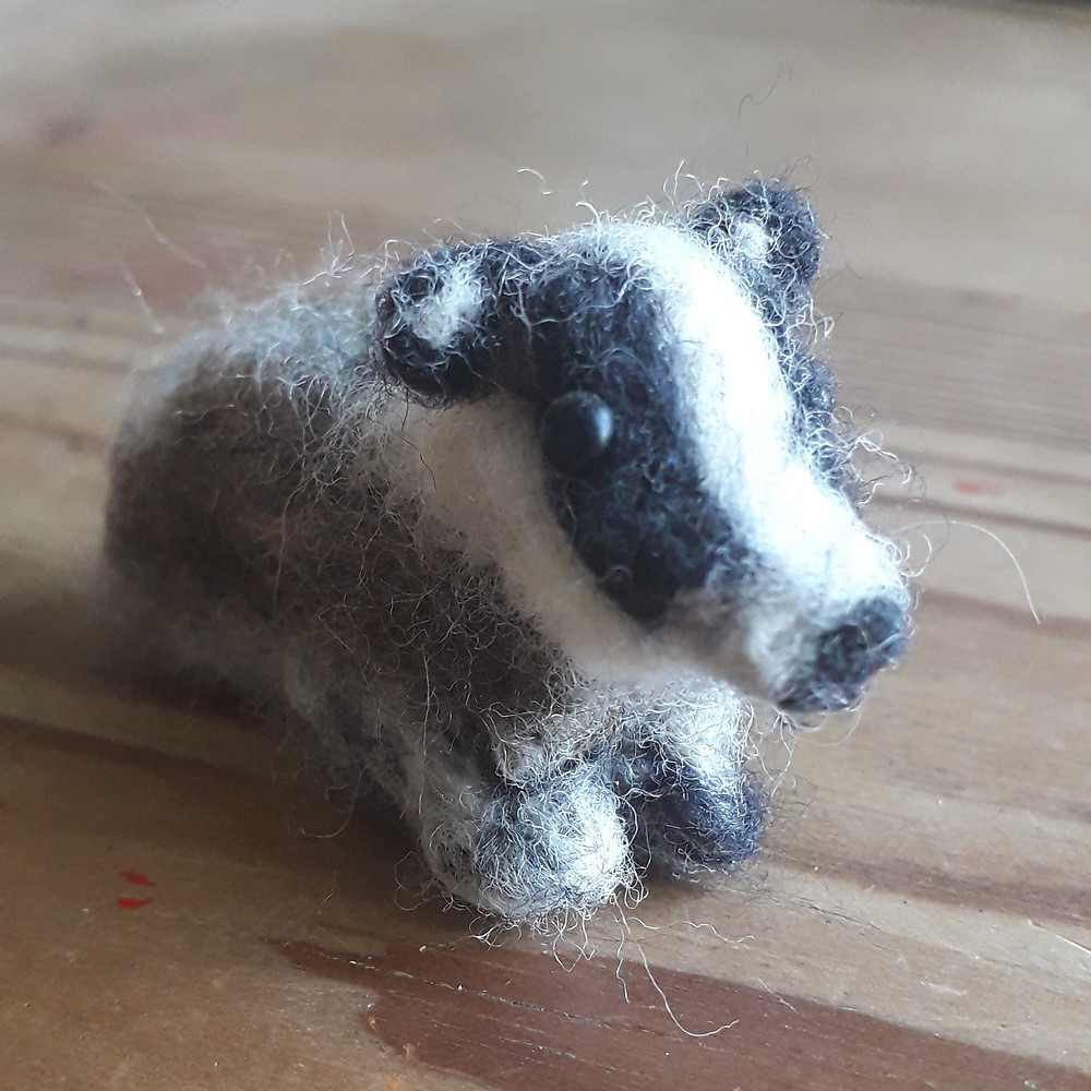 Needle felted Badger by Jane Beanland