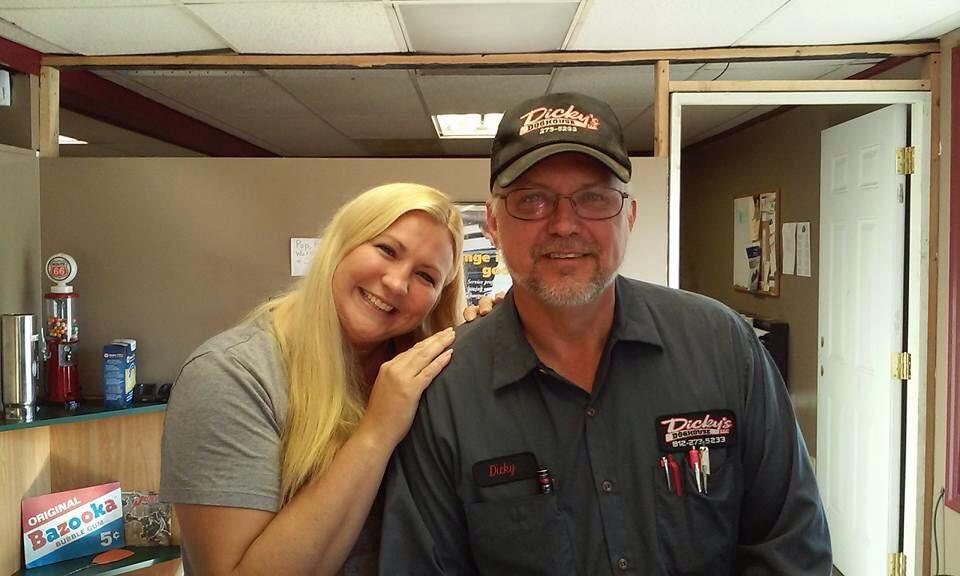 Sasha and Dicky at the repair shop