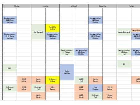 Trainingszeiten ab Mittwoch den 04.11.2020