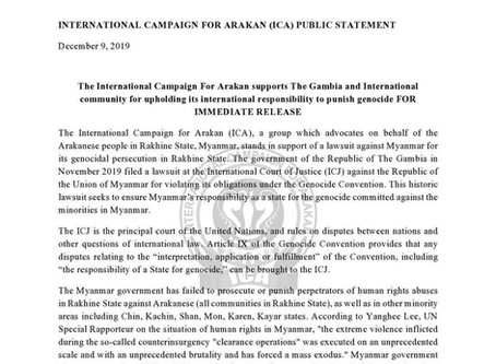 The International Campaign for Arakan supports The Gambia and international community for upholding