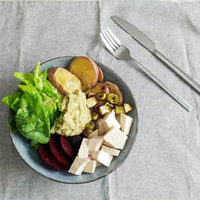 Patate viola e tofu