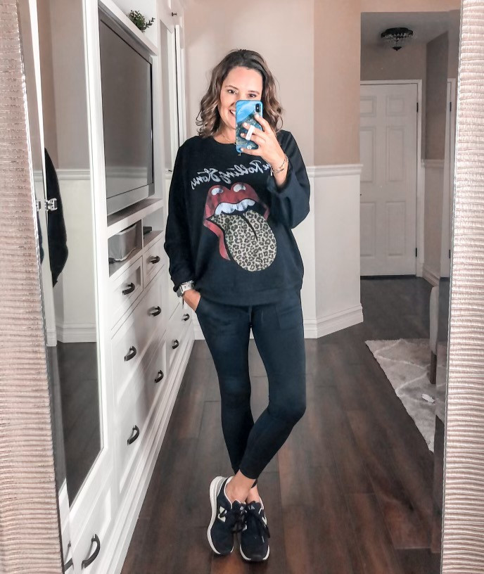 graphic tee. Rolling Stones. comfy outfit. SAHM. mom fashion. style over 40. target mom. casual looks.