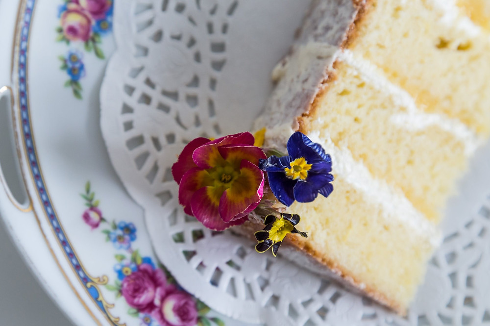 Slice of cake edible flowers