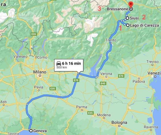 Da Genova al Trentino con Google Maps