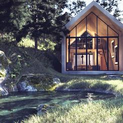 Cabaña y estanque