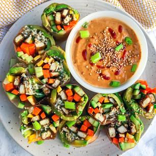 Crispy Tofu Summer Rolls with Peanut Dipping Sauce