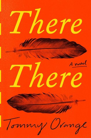 a bright red-orange background features the title text in yellow-orange, the words separated by two feathers