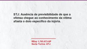 STJ: Ausência de previsibilidade de que a ofensa chegue ao conhecimento da vítima afasta o dolo.