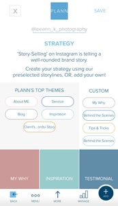 This is a screenshot of the content strategy that I created on Plann. I was able to customize my colors to match my branding which is an added bonus!