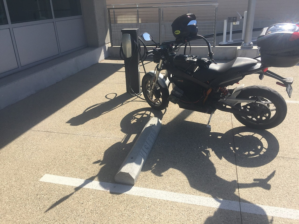 Morgan Vetter and Brandon Miller Race from LA on electric motorcycles a very fussy tesla station