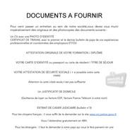 Documents à fournir pour postuler