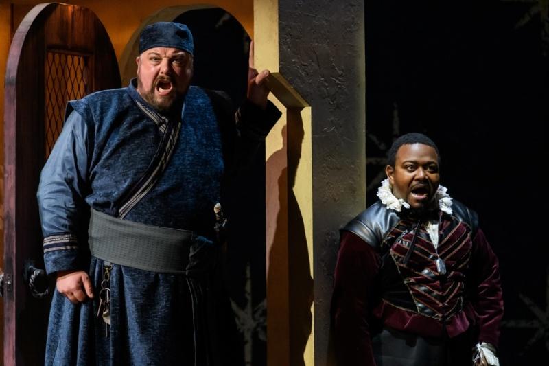 Matthew Stiff and John-Colyn Gyeantey  in English Touring Opera's The Seraglio c Jane Hobson