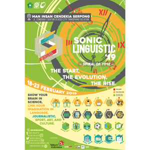 --if you could travel the time, would you? . 🌟SONIC LINGUISTIC 2019: Spiral Of Time🌟 proudly brought to you by MAN Insan Cendekia Serpong . Wouldn't it be great if we could go back in time and learn from the past?⏰ Fasten your seatbelt; we're going to bring the concept to life in this year's Sonic Linguistic🚀💫 Let's join the marvelous adventure and commit yourself in The Start, The Evolution, The Rise by joining our competitions: . 🔬Science and Technology🔬 Math Competition (SMP) • Science Competition (SMP) • General Quick n Smart (SMP) • LKIR (SMP/SMA) • Economics Competition (SMA) • Robotic Maze Solving (SMP/SMA) . 📝Journalistic📝 Short Movie (SMP/SMA) • Photo Marathon (SMP/SMA) • Essay (SMP/SMA) • Cipta Cerita (SMP/SMA)  . 🎭Sports, Art, and Culture🎭 Saman (SMP/SMA) • Archery (SMP/SMA) • Mural (SMA) • Band (SMP/SMA) • Soccer (SMA) • Basketball (SMA) . 📖 Language 📖 Story Telling (SMP/SMA) • Speech (SMP/SMA) • Khitobah (SMP/SMA) • Spelling Bee (SMP) • LDBI (SMA) • English Debate (SMA) • Musikalisasi Puisi (SMP/SMA) . Save the date!😉🎉 📆 February 18-23, 2019 📍 MAN Insan Cendekia Serpong, Jl. Cendekia No. 1, Sektor XI BSD City, Tangerang Selatan . For further info, check our social medias! 📲 081398843543 (Renata) 📩 publikasisonlis@gmail.com 🌐 soniclinguistic.com LINE@/Twitter/IG: @soniclinguistic