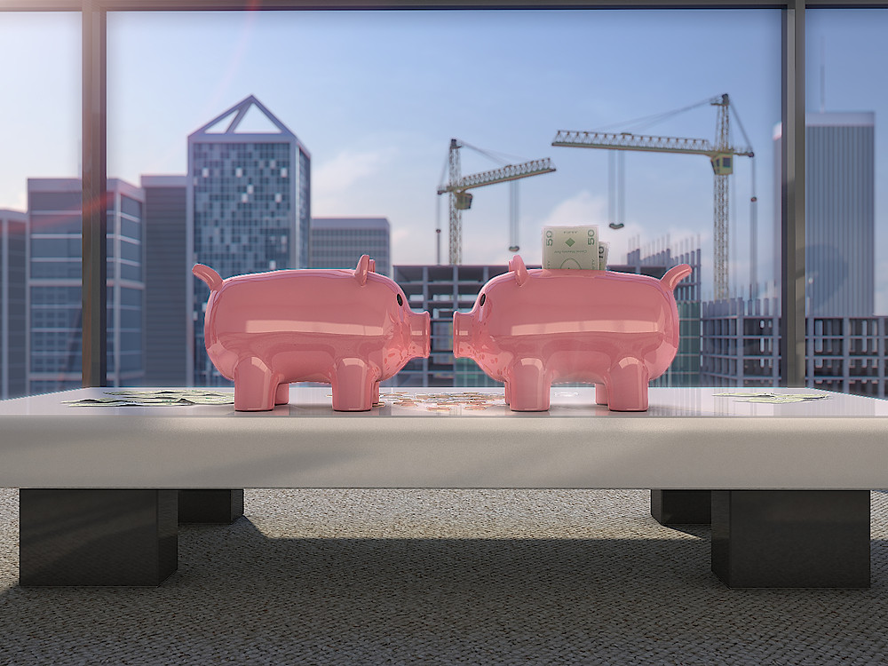 Photorealistic marketing 3D Rendering with the two money pigs