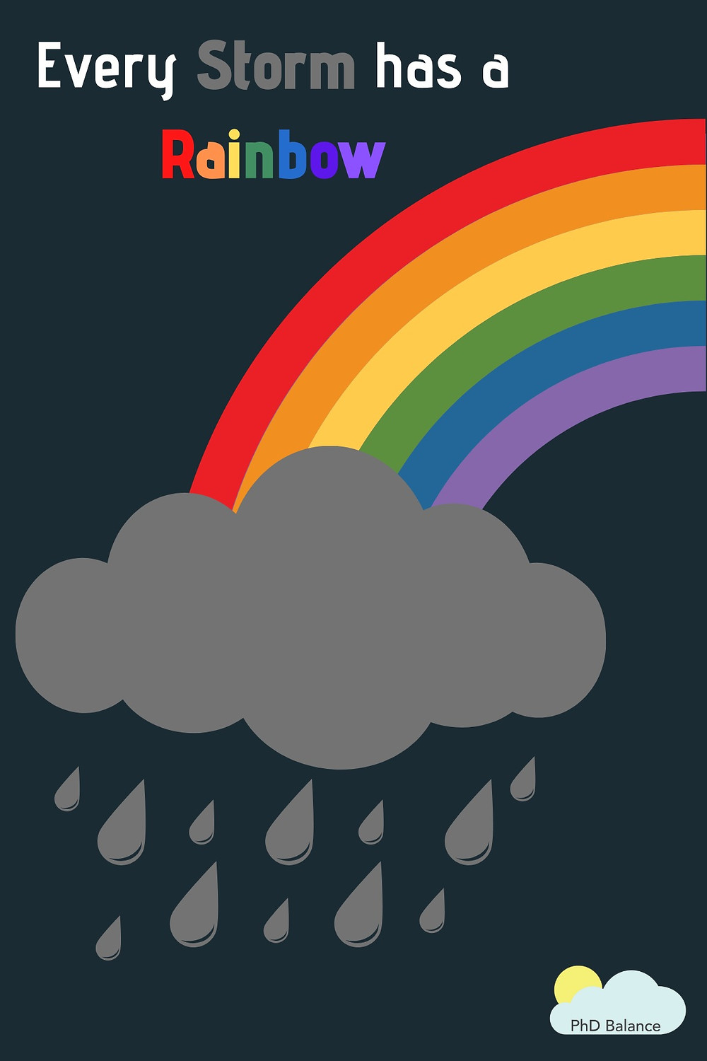 A rainbow coming out of a rainy storm cloud with the words - Every storm has a rainbow