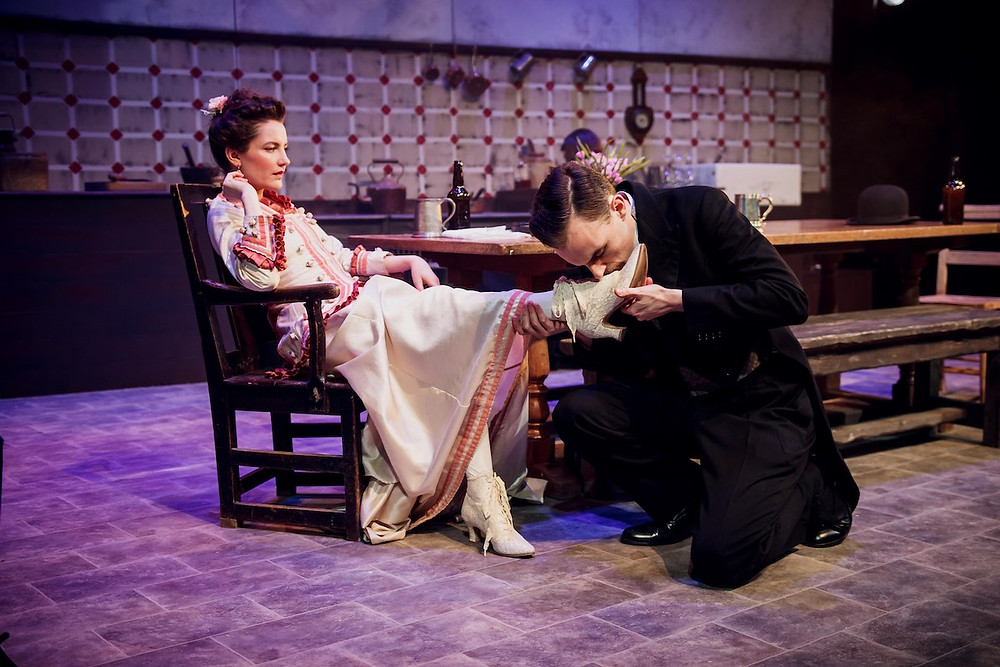 Miss Julie, (Alice Frankham) persuades valet John (Danny Solomon) to kiss her shoe, but soon the boot's on the other foot...All pics: Ed Rees
