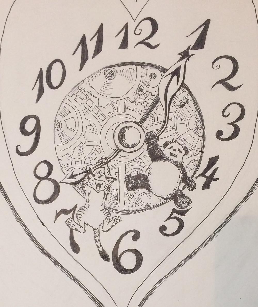ぶら下がり時計ジパンダとジパニャン(オリジナルイラスト)